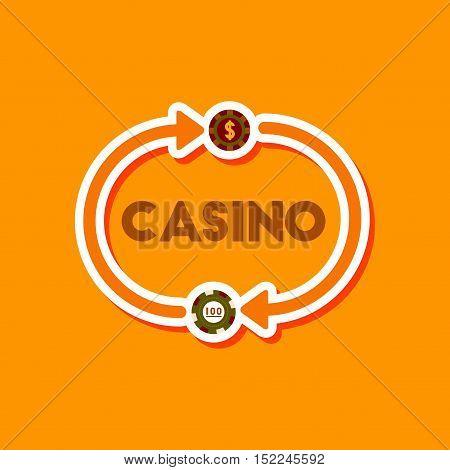 paper sticker on stylish background of poker casino chips