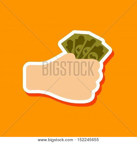 paper sticker on stylish background of money in hand