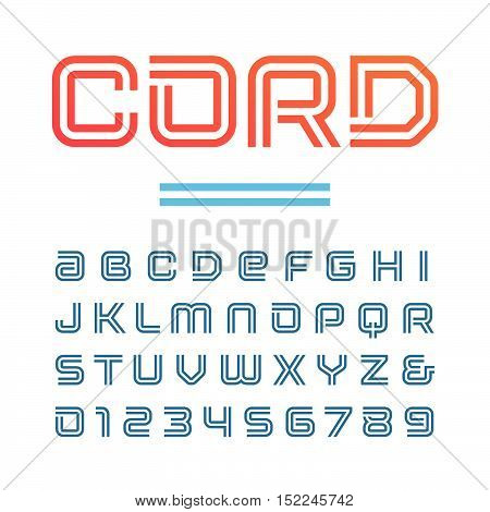 Linear Font. Vector Alphabet With Stripes Effect Letters And Numbers.