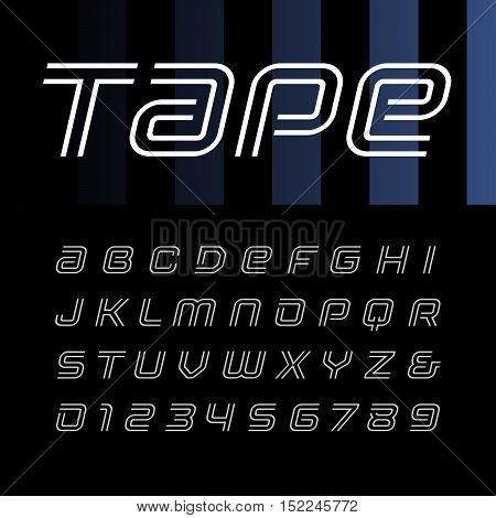 Linear Italic Font. Vector Alphabet With Stripes Effect Letters And Numbers.