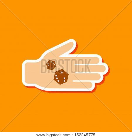 paper sticker on stylish background of dices in hand