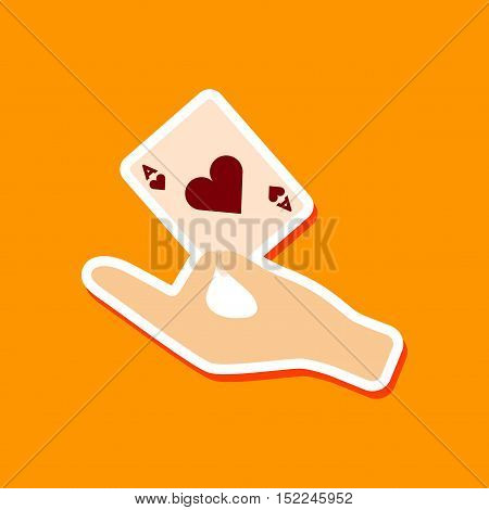 paper sticker on stylish background of hand playing cards
