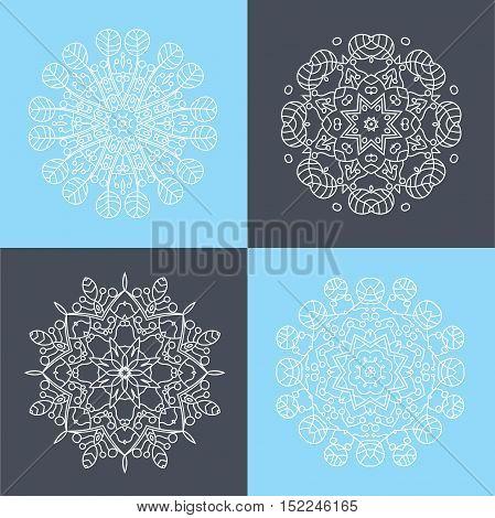 Four beautiful circular ornament. Mandala. Vintage decorative elements. Islam, Arabic, Indian, ottoman motifs. Set of beautiful ethnic, oriental ornaments. Stylized flowers.