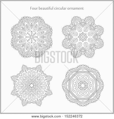 Set gentle and light circular ornament. Mandala. Vintage decorative elements. Islam, Arabic, Indian, ottoman motifs. Set of beautiful ethnic, oriental ornaments. Stylized flowers.