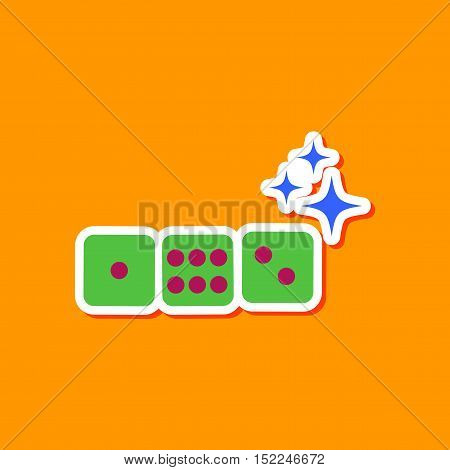 paper sticker on stylish background of dice lucky