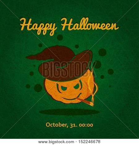 Happy Halloween. Evil pumpkin with witch hat. Halloween pumpkin. The holiday, pumpkins. Vector illustration for celebration. Poster, postcard, banner, background for Halloween Party Night.