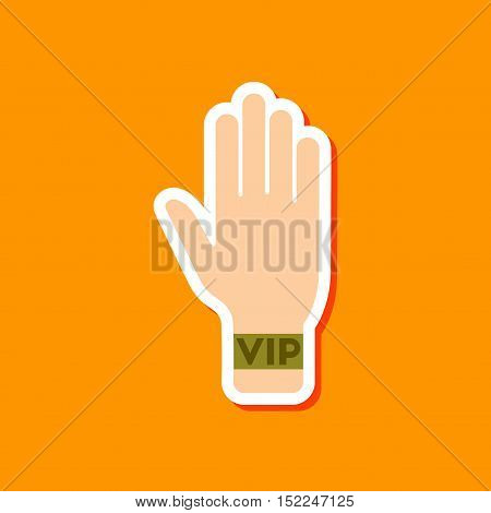 paper sticker on stylish background of hand VIP