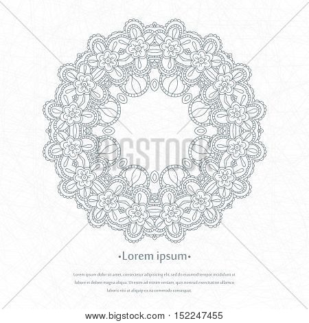 Decorative detailed logo on a white background. Beautiful circular ethnic, oriental ornament. Mandala. Vintage decorative elements. Stylized flowers logotype.