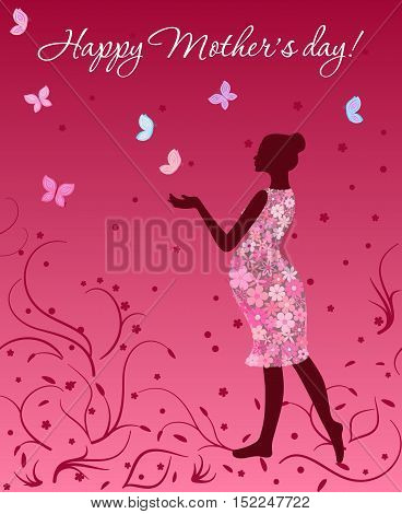 Mother's day card with pregnant woman in floral dress with butterflies on pink background