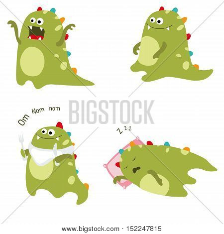 Set of different dinosaurs on white background.