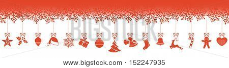 Set of 15 Christmas ornaments hanging from a border made from snowflakes isolated on white.