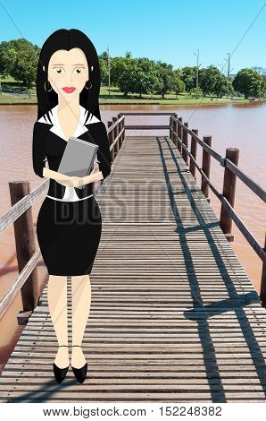 Business woman character formally dressed and holding a book. Character on bridge of a lake and nature from a park on the background.