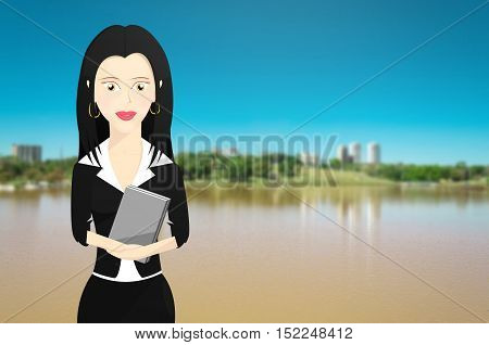 Business woman formally dressed and holding a book. Lake and nature from a park background.