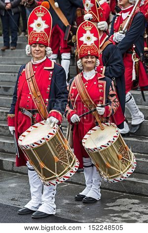 TIMISOARAROMANIA - OCTOBER 162016:Medieval soldiers women drummers on the street.Show organized by City Hall Timisoara to celebrate the 300 years since the entry of Eugene of Savoy into the fortress