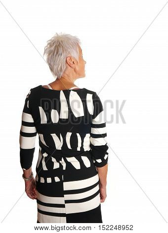 rear view of senior woman looking at something. isolated on white.