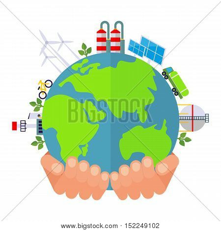 Hand Holds Green Planet