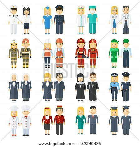 set of 24 professions for men and women. Health staff service police and firefighters. People in work clothes. Flat vector professional cartoon illustration. Objects isolated on a white background.