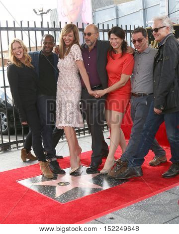 LOS ANGELES - OCT 17:  Allison Janney, West Wing Cast members at the Allison Janney Hollywood Walk of Fame Star Ceremony at the Gower and Hollywood on October 17, 2016 in Los Angeles, CA
