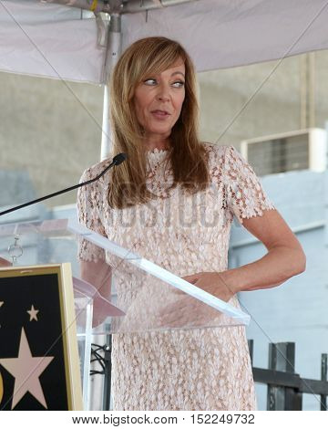 LOS ANGELES - OCT 17:  Allison Janney at the Allison Janney Hollywood Walk of Fame Star Ceremony at the Gower and Hollywood on October 17, 2016 in Los Angeles, CA