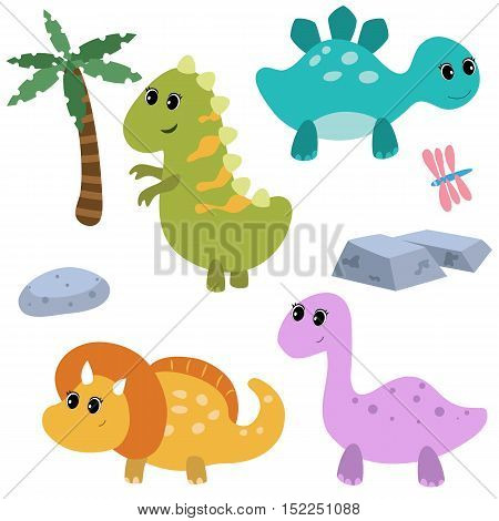 Set of different cartoon dinosaurs on white background.