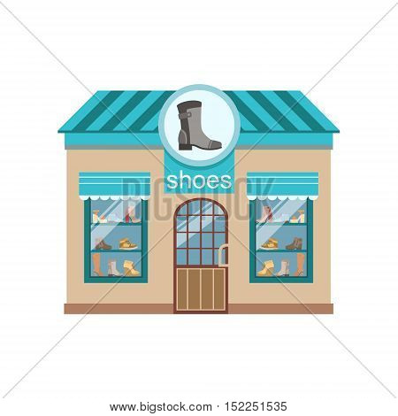 Shoe Shop Commercial Building Facade Design. Colorful Detailed Icon In Cartoon Simple Style. Flat Vector Illustration Isolated on White Background
