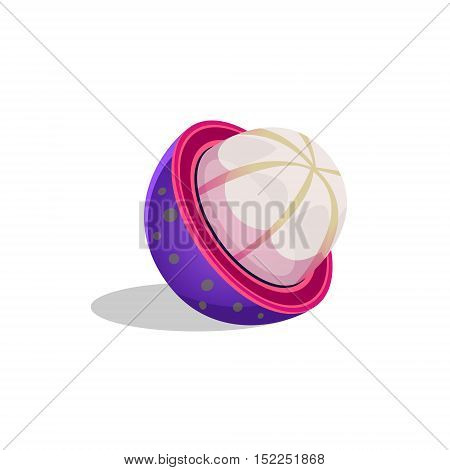 Mangosteen Fruit Cut In Half Bright Icon. Isolated Vector Drawing Of Tropical Exotic Fruit On White Background