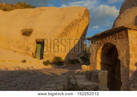 Cappadocia alien style building at sunset, Turkey