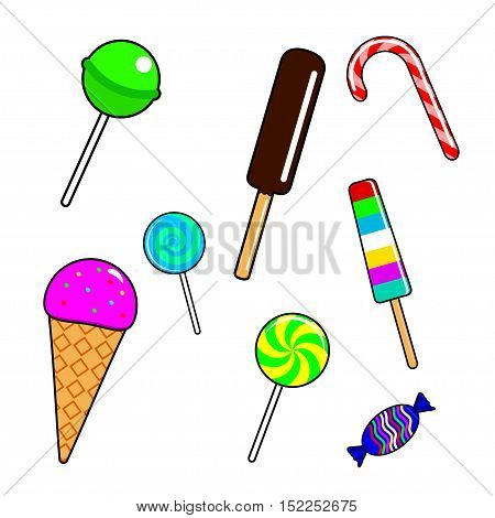 Fashion patch badges with candy, lollipops and ice cream. Isolated on white. Vector illustration.