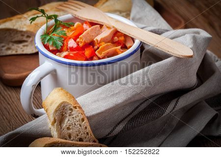 Leczo - Stew With Peppers, Onions And Sausages.
