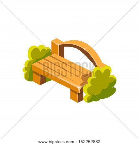 Wooden Bench With Back Isometric Garden Landscaping Element. Video Game Landscape Constructor Item In Cute Colorful Design Isolated On White Background.