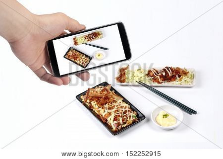 Take photo the set of Japan pizza as