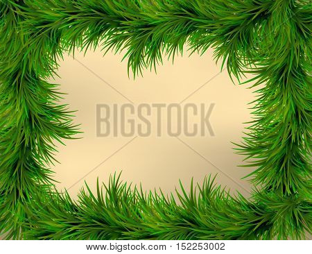 Merry Christmas and Happy New Year greeting card with Christmas decor fir twigs. Gold and green christmas classic colors Vector illustration. EPS 10