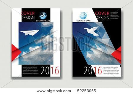 Cover Report Business Colorful Triangle Polygonal Sky Clouds Geometric pattern Design Background, Cover Magazine, Brochure Book Cover Template, vector illustration