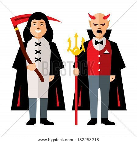 Death and Devil. Isolated on a white Background