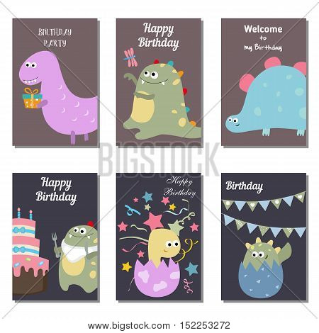 Set of beautiful birthday invitation cards decorated with cute cartoon dinosaurs.