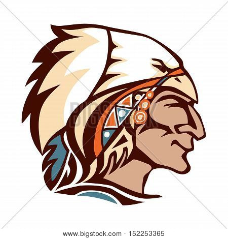 American Indian chief head. Indian feather headdress of eagle.
