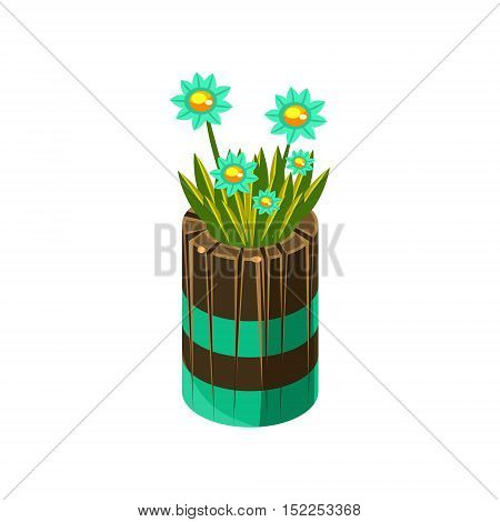 Wooden Pot With Flowers Isometric Garden Landscaping Element. Video Game Landscape Constructor Item In Cute Colorful Design Isolated On White Background.