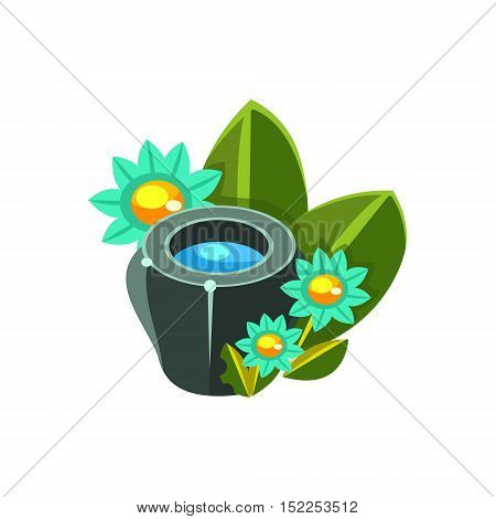 Small Water Bowl And Flowers Isometric Garden Landscaping Element. Video Game Landscape Constructor Item In Cute Colorful Design Isolated On White Background.