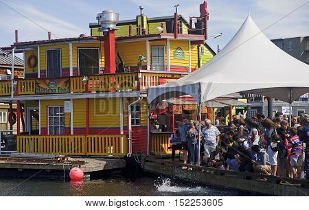 Victoria, Canada - August 27, 2016: Fisherman Wharf On 27 August
