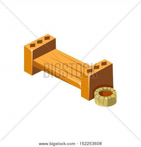 Wooden Bench With Empty Flower Bed Isometric Garden Landscaping Element. Video Game Landscape Constructor Item In Cute Colorful Design Isolated On White Background.