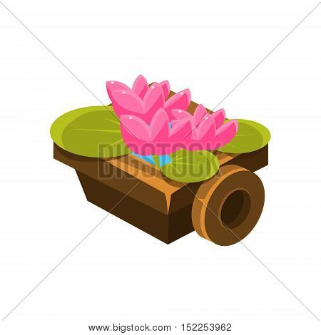 Wooden Pot With Water Lilies Isometric Garden Landscaping Element. Video Game Landscape Constructor Item In Cute Colorful Design Isolated On White Background.