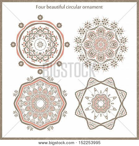 Set vintage circular ornament. Mandala. Vintage decorative elements. Islam, Arabic, Indian, ottoman motifs. Set of beautiful ethnic, oriental ornaments. Stylized flowers.