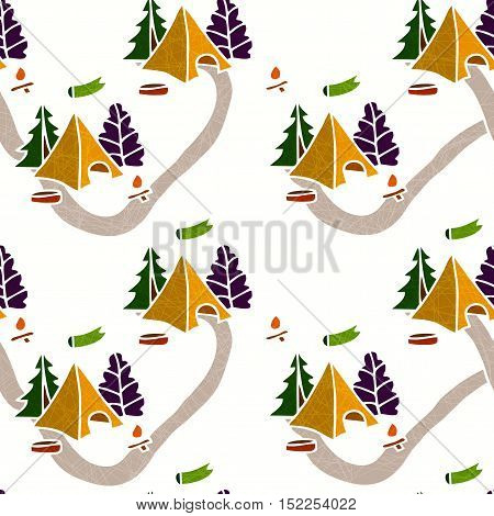 Seamless background. Nature seamless pattern. Seamless color pattern with a tent, a campfire and trees. Hiking Trail. Tourist camp. Seamless background. The pattern of tourism and travel.