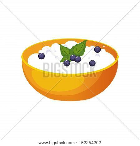 Bowl Of Cottage Cheese With Blueberry, Milk Based Product Isolated Icon. Simple Realistic Flat Vector Colorful Drawing On White Background.