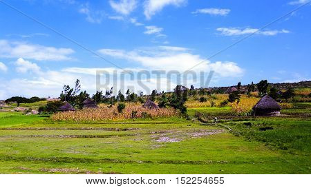 Landscape of the Village of konso tribe Ethiopia