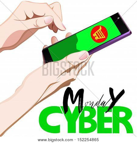 Vector background of online shoping. Vector illustration. Human finger choosing smart phone and add to cart on mobile smartphone device. Cyber Monday lettering