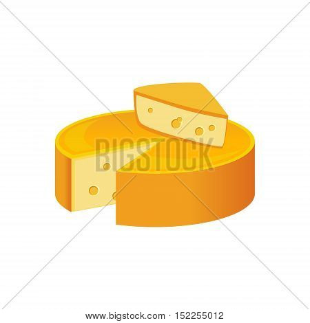 Round Cheese Head, Milk Based Product Isolated Icon. Simple Realistic Flat Vector Colorful Drawing On White Background.