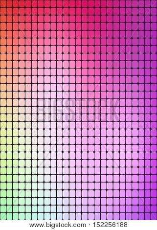 ornament of vertical rectangles with rounded corners purple, orange, pink, green, colors and their shades