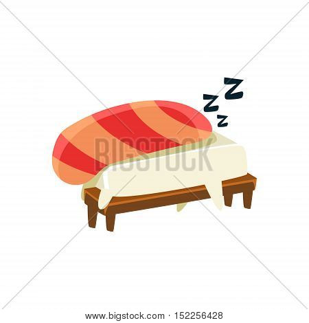 Sleeping Funny Maki Sushi Character. Silly Childish Drawing Isolated On White Background. Funny Creature Colorful Vector Sticker.