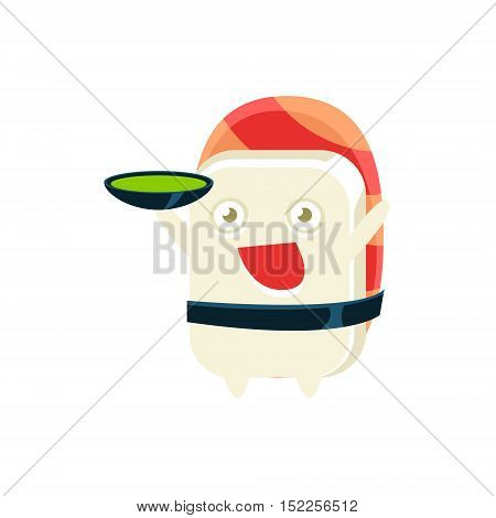 Serving Soup Funny Maki Sushi Character. Silly Childish Drawing Isolated On White Background. Funny Creature Colorful Vector Sticker.